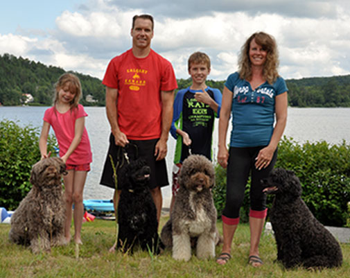 Photo of Lesley Millar and her family, Owner of Acostar Portuguese Water Dog Breeders